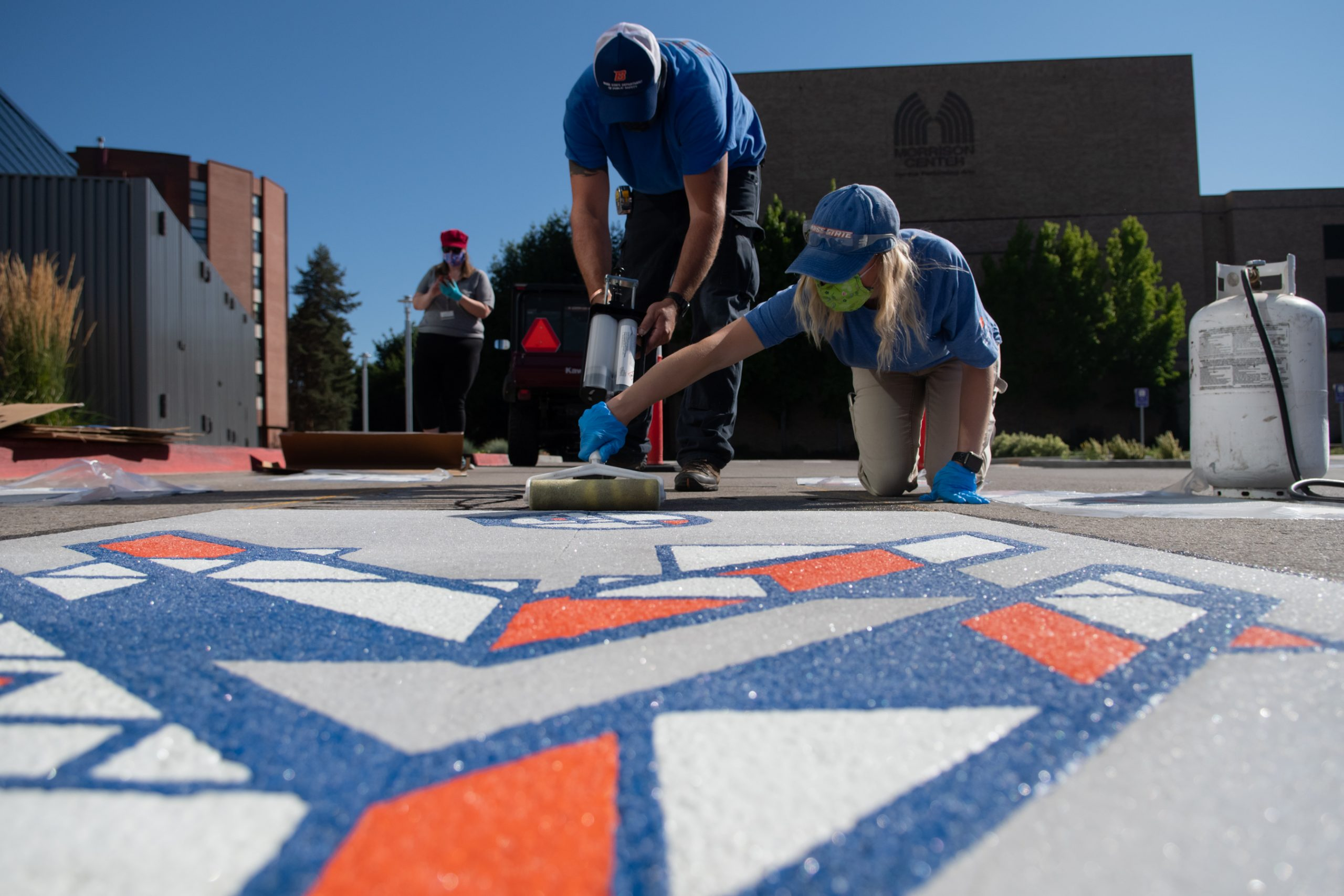 Public Art Installation of Bike Sharrows by Holly Papa at Boise State University