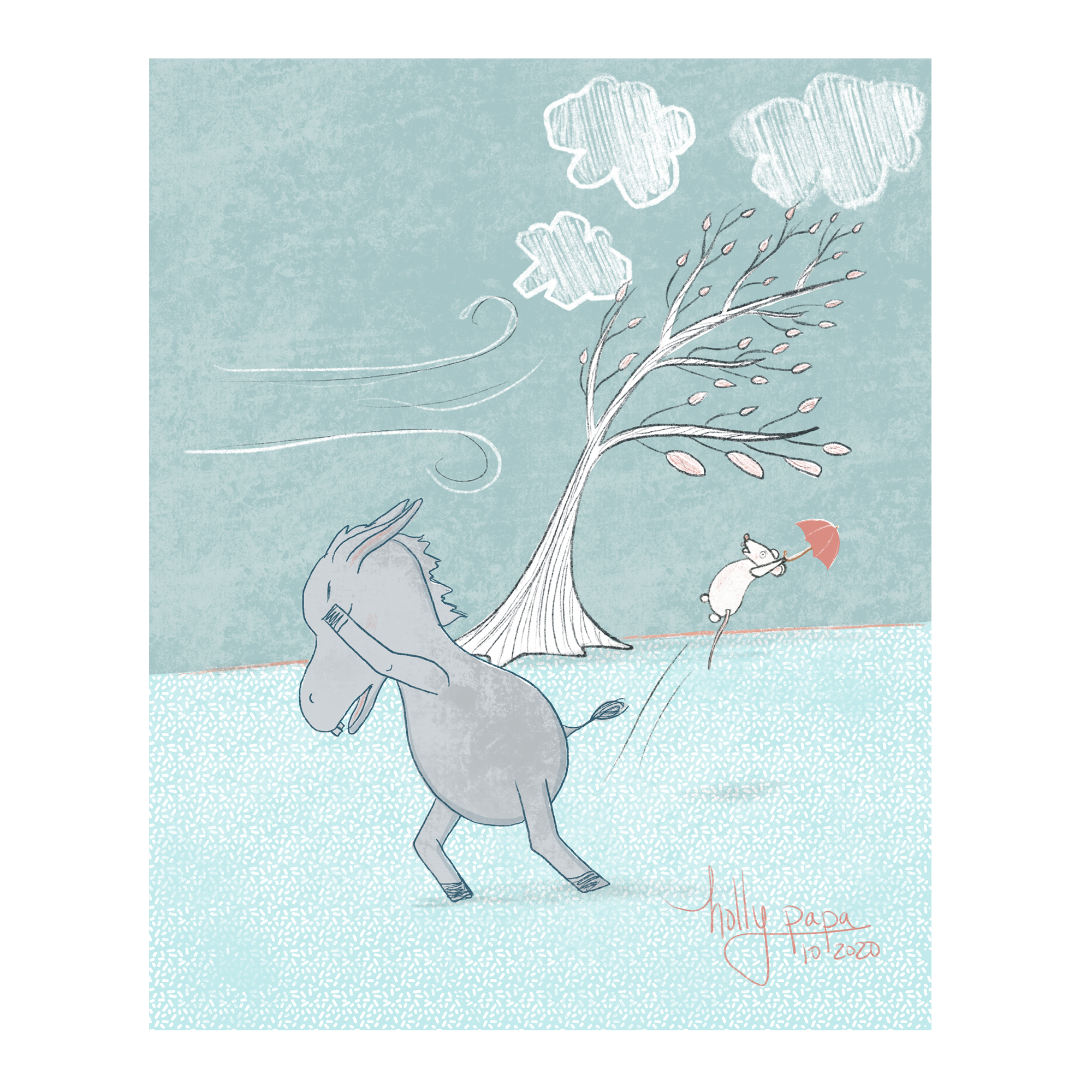 Donkey & Mouse in the wind